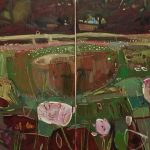 Tuscany Meadow in Evening Sunlight, August (diptych)