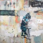 Girl with Bike and Five Palms