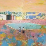 Children by a Pool, Apricot Sky