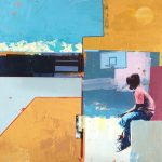 Boy in Basketball Court with Blue Mountain SOLD